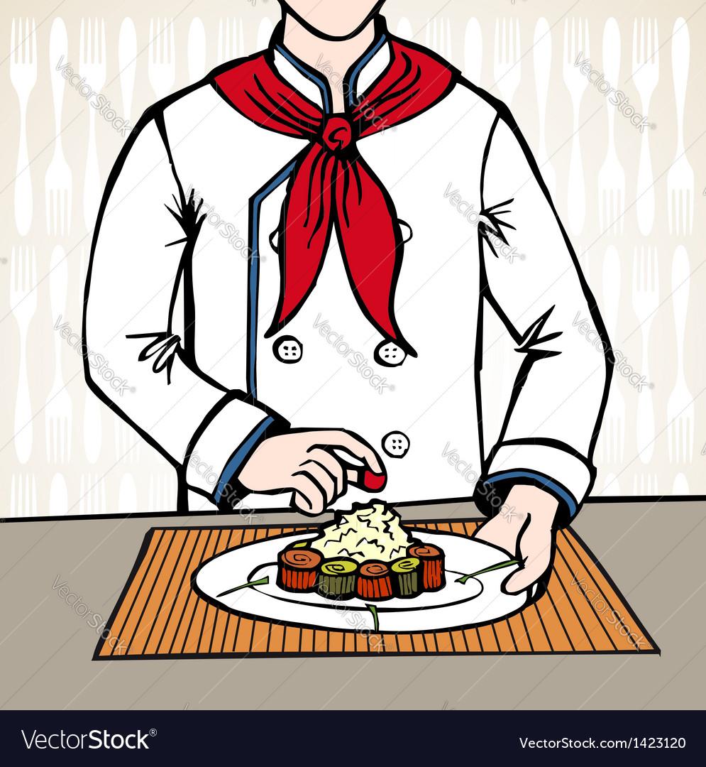 Chef preparing sushi vector   Price: 1 Credit (USD $1)