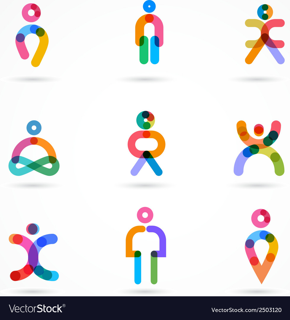 Collection of colorful abstract people vector | Price: 1 Credit (USD $1)