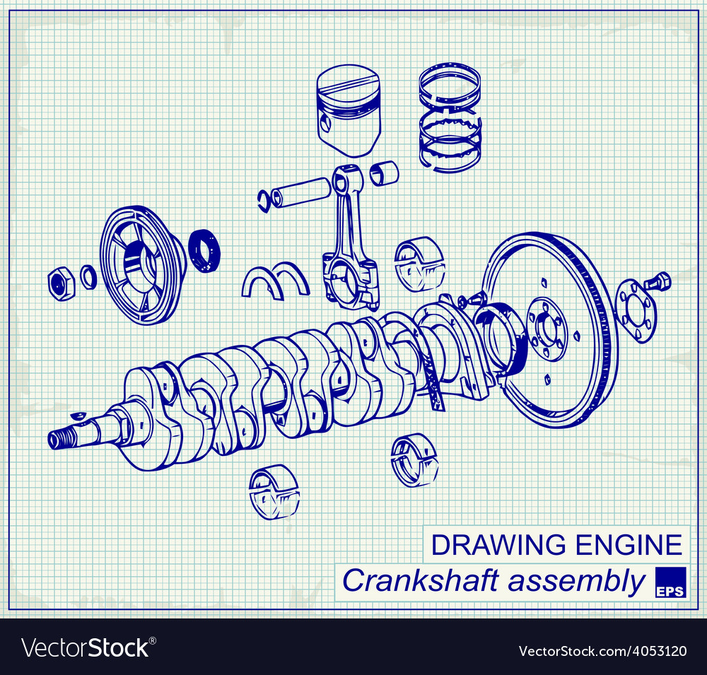 Drawing old engine crankshaft assembly vector | Price: 1 Credit (USD $1)