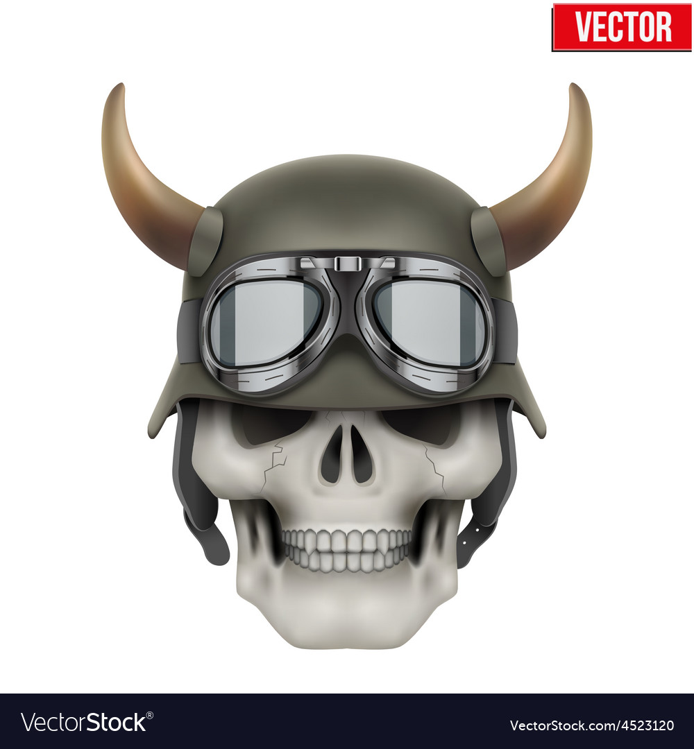 Human skulls with german army helmet and horns vector | Price: 1 Credit (USD $1)