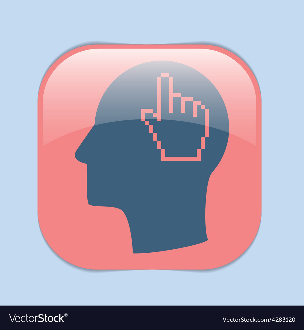 Icon head think silhoutte man and his mind about m vector | Price: 1 Credit (USD $1)