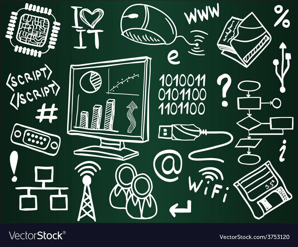 Information technology and internet sketches vector | Price: 1 Credit (USD $1)