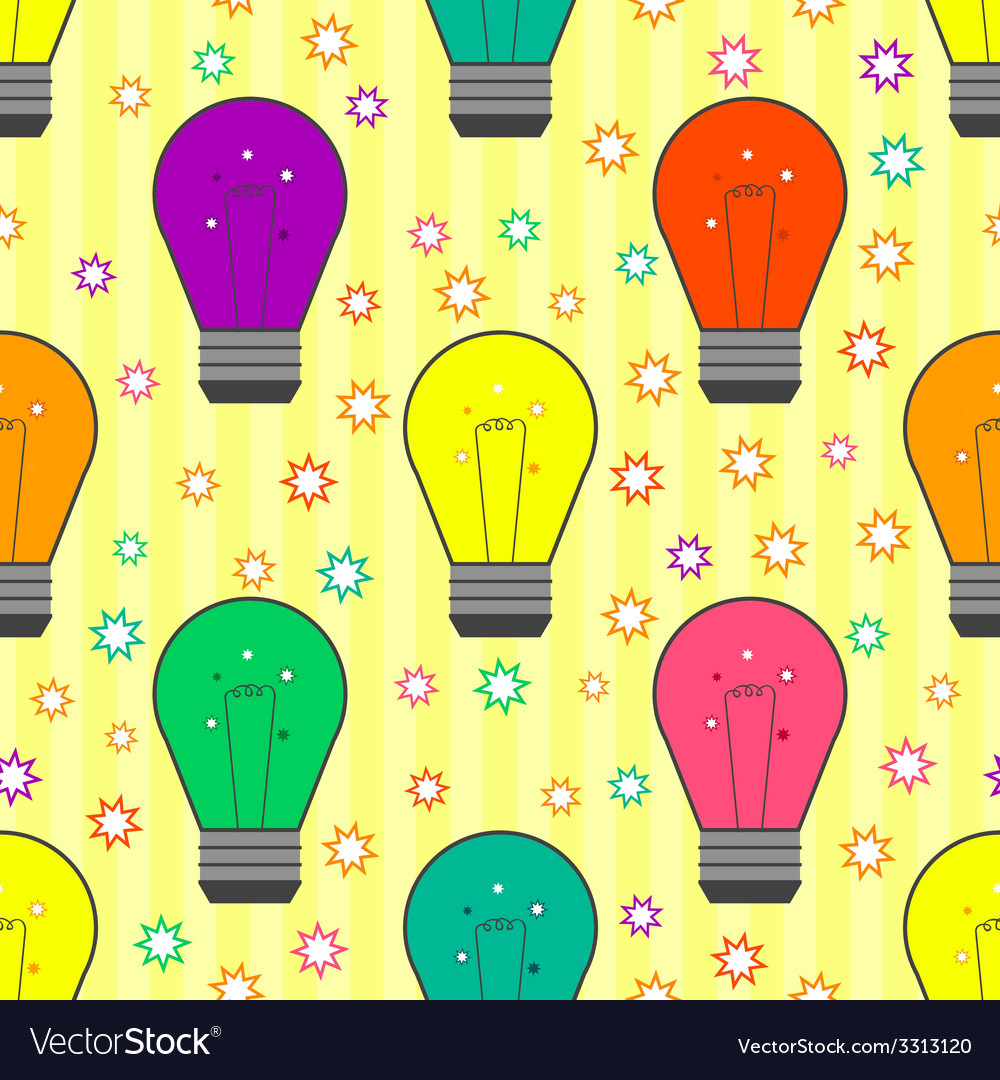 Seamless pattern with light bulb in flat style vector | Price: 1 Credit (USD $1)