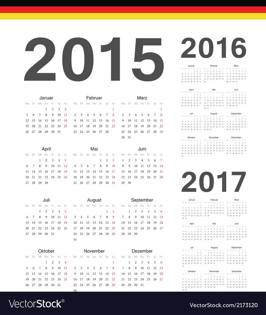 Set of german 2015 2016 2017 year calendars vector | Price: 1 Credit (USD $1)