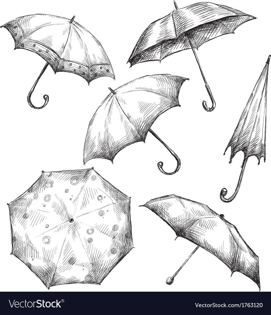 Set of umbrella drawings vector | Price: 1 Credit (USD $1)