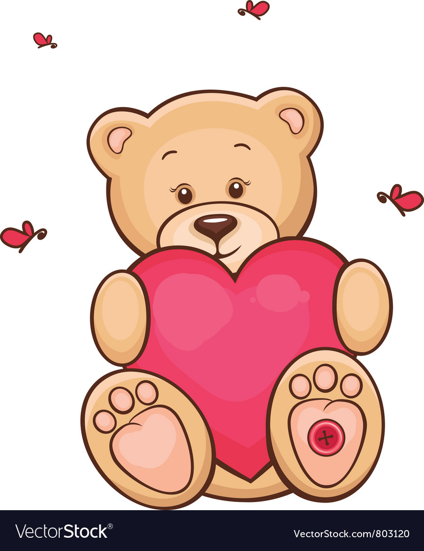 Teddy bear with red heart vector | Price: 3 Credit (USD $3)