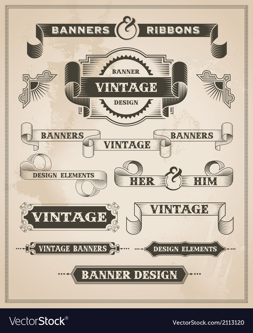 Vintage hand drawn banner and ribbon design set vector | Price: 3 Credit (USD $3)