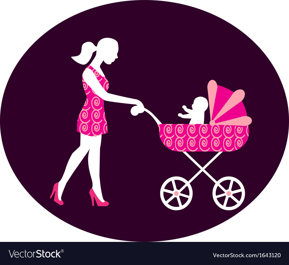 Woman with a stroller vector | Price: 1 Credit (USD $1)