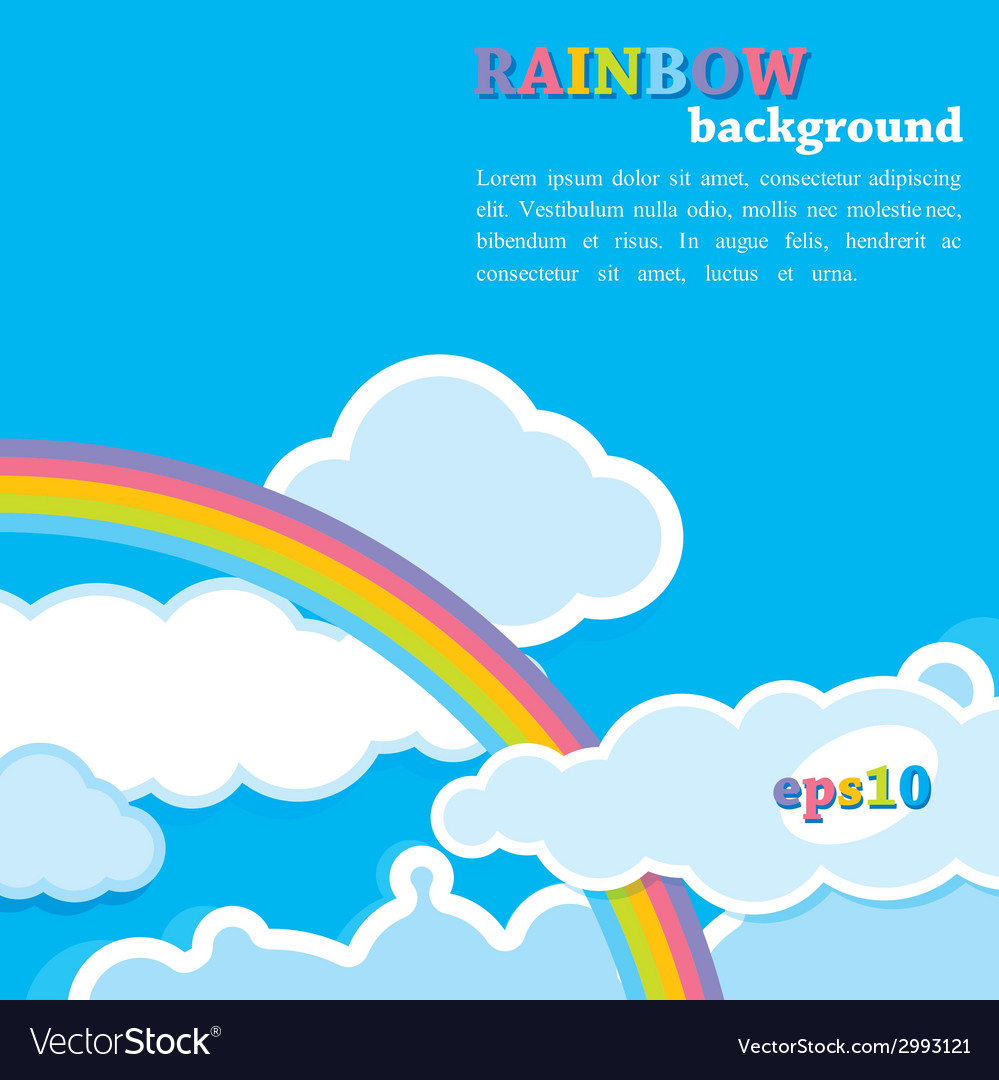 Background with rainbow and clouds vector   Price: 1 Credit (USD $1)