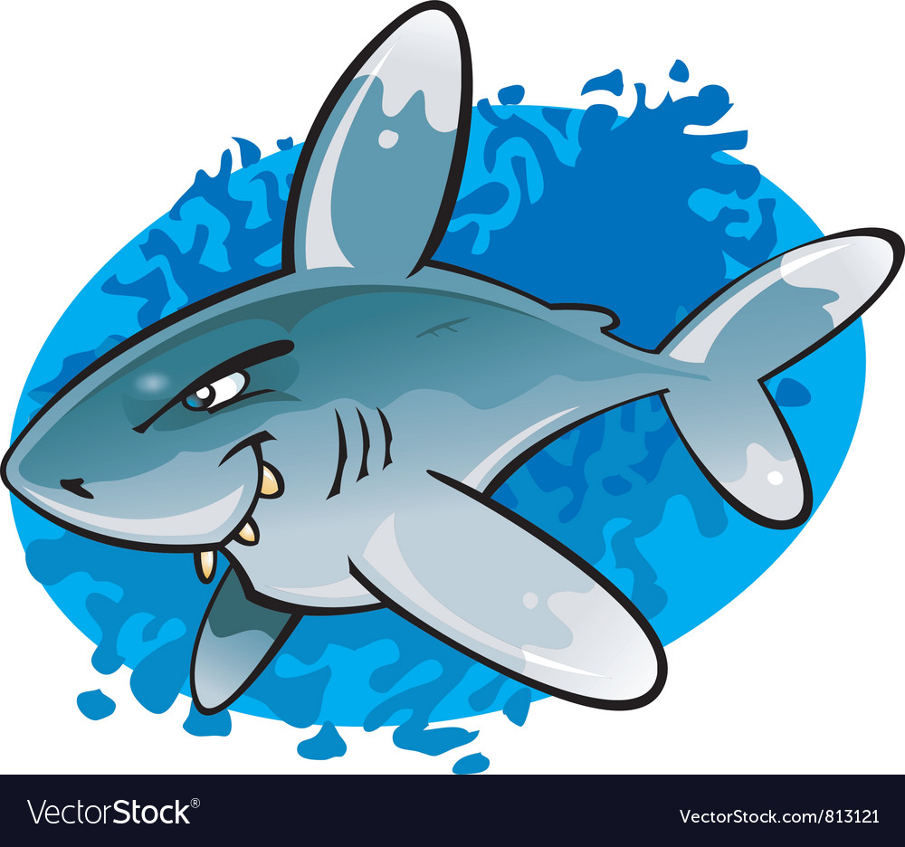Cartoon oceanic white tip shark vector | Price: 1 Credit (USD $1)