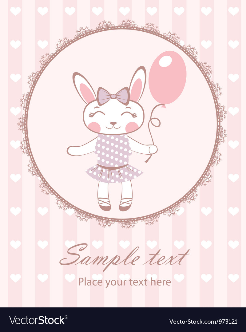 Cute bunny girl with balloon vector | Price: 3 Credit (USD $3)