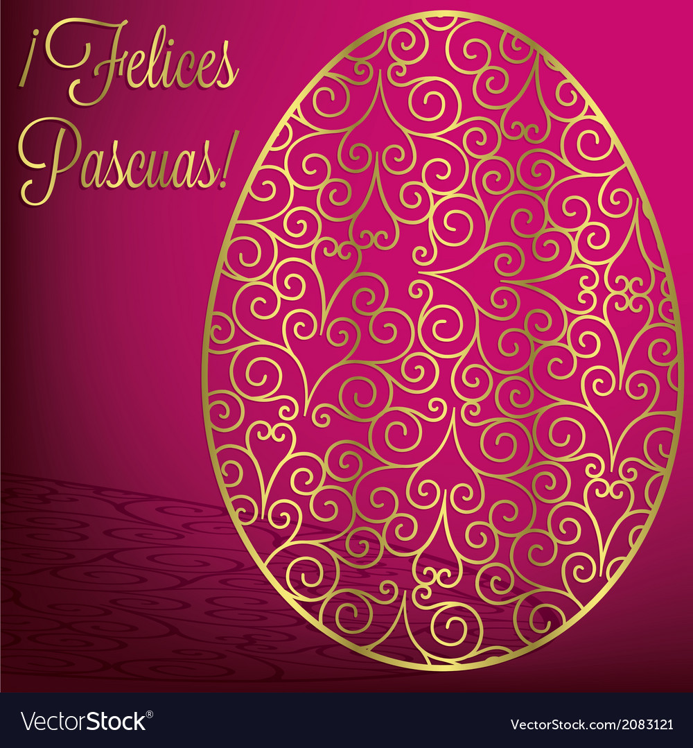 Filigree egg happy easter card in format vector | Price: 1 Credit (USD $1)