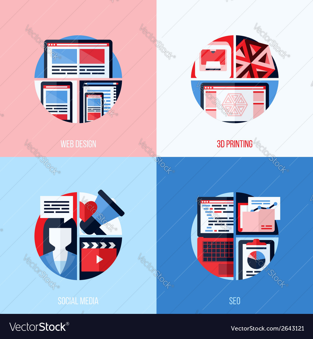 Icons of web design 3d printing social media seo vector | Price: 1 Credit (USD $1)