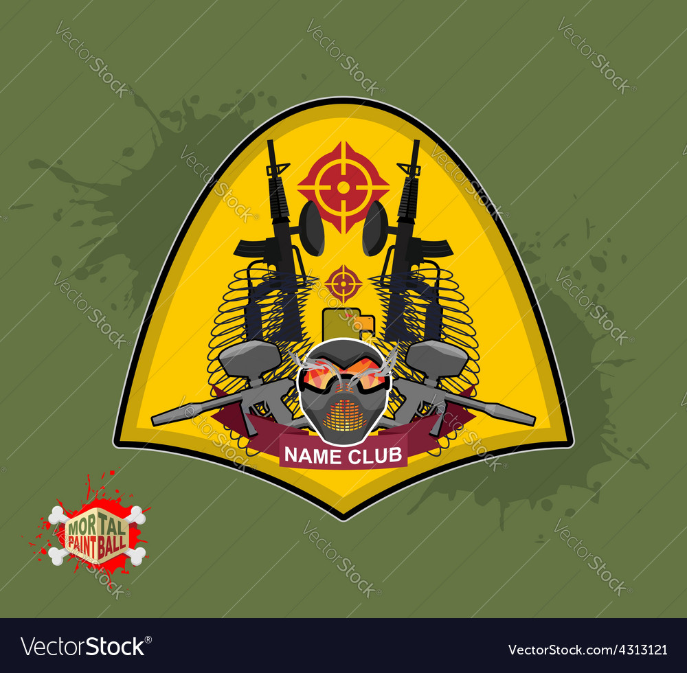 Paintball logo shield with wings emblem mortal vector | Price: 1 Credit (USD $1)