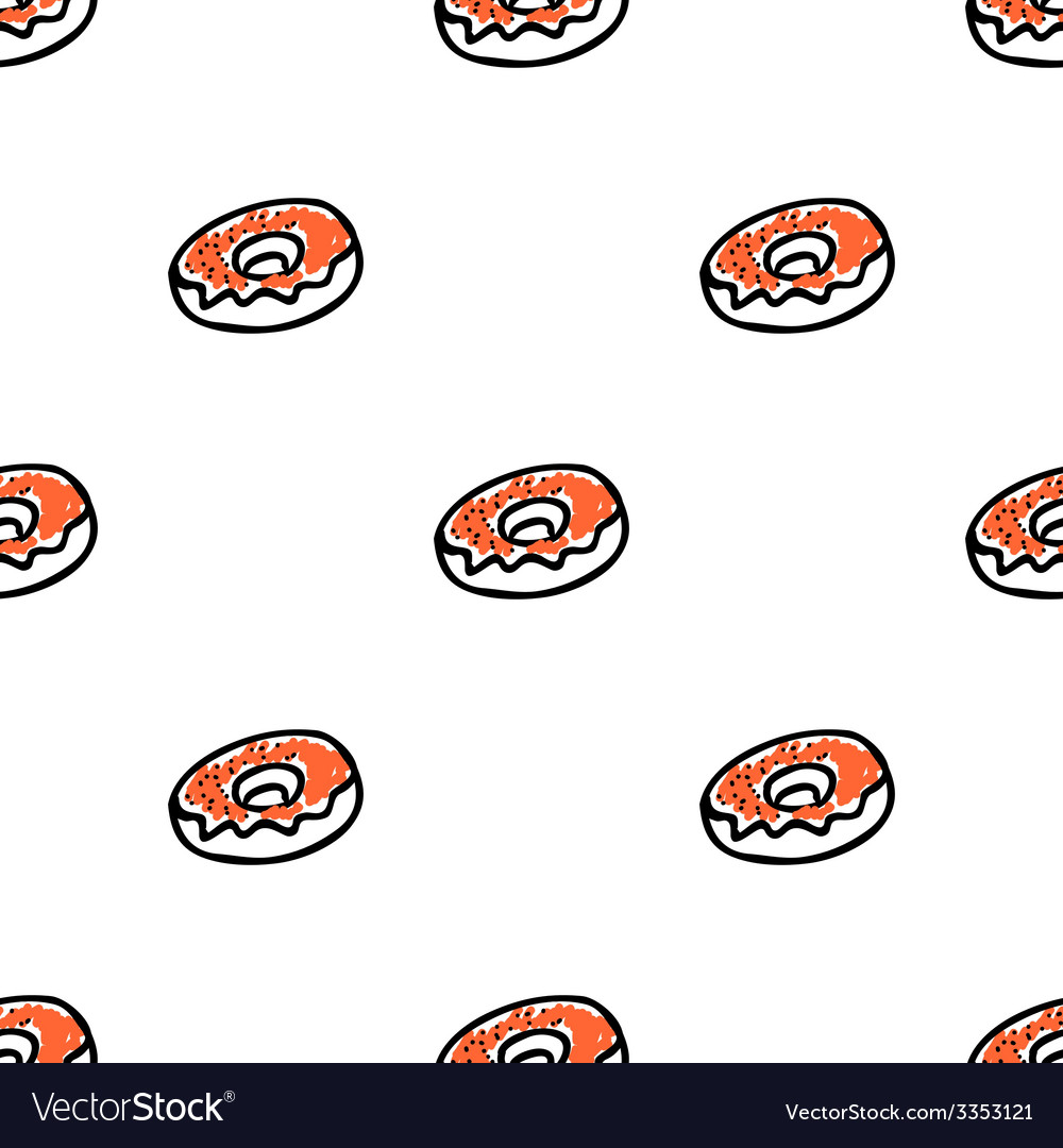 Seamless pattern with doodle doughnuts vector | Price: 1 Credit (USD $1)