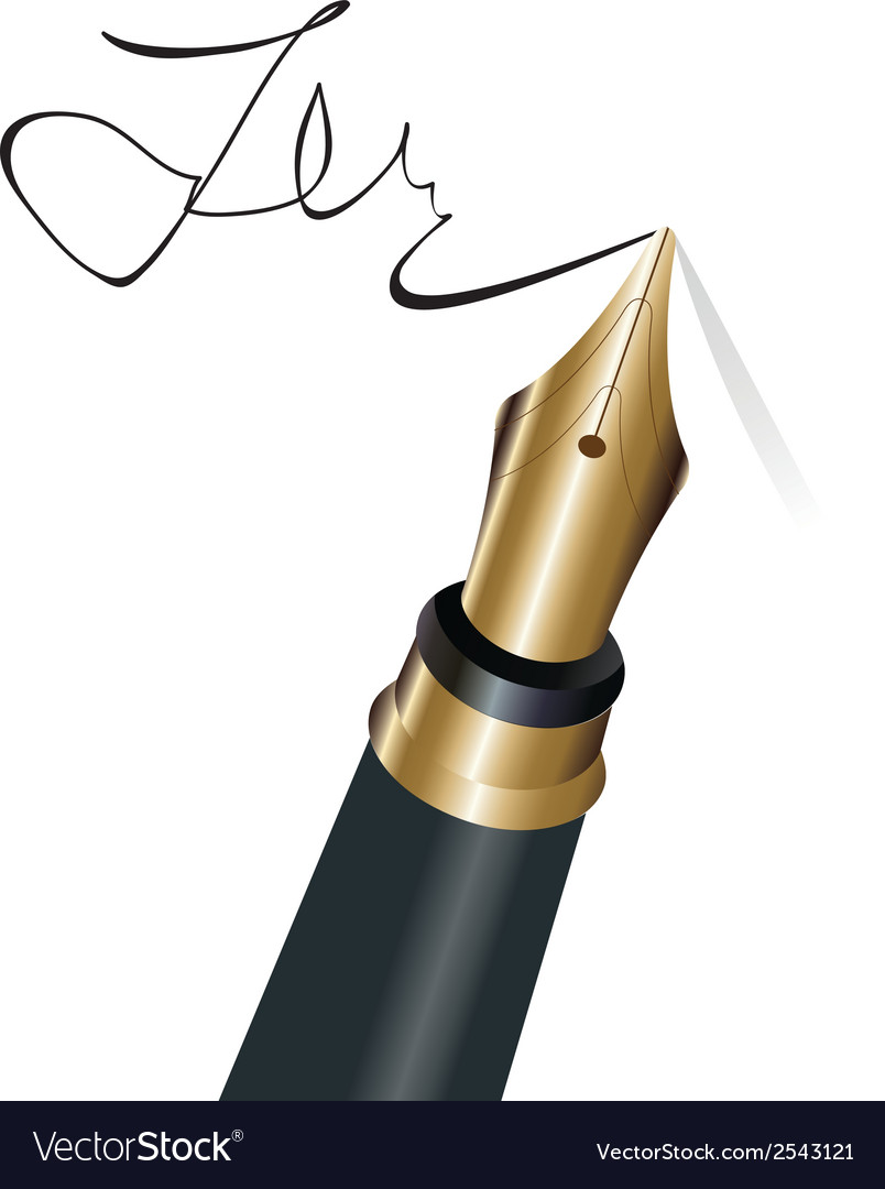 Signing with a fountain pen isolated object vector | Price: 1 Credit (USD $1)
