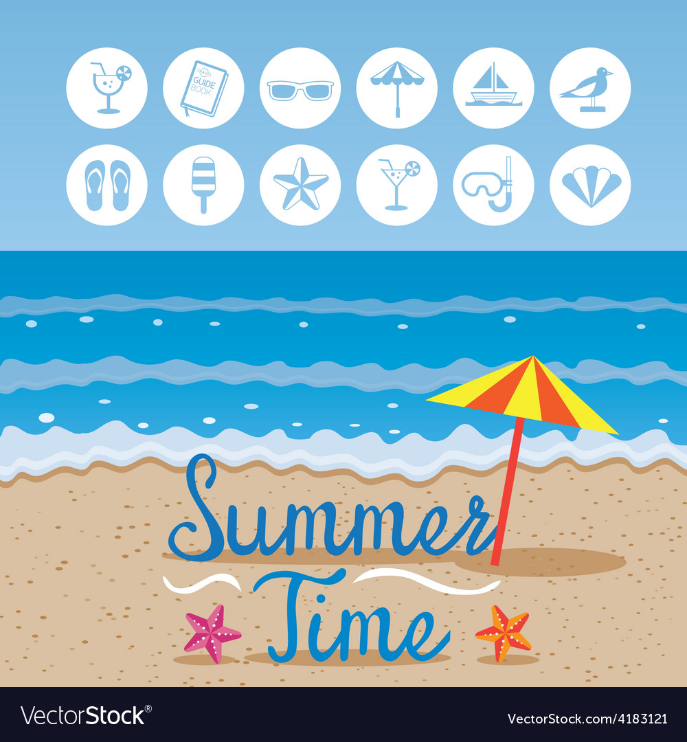 Summer beach background with text and icons vector | Price: 1 Credit (USD $1)