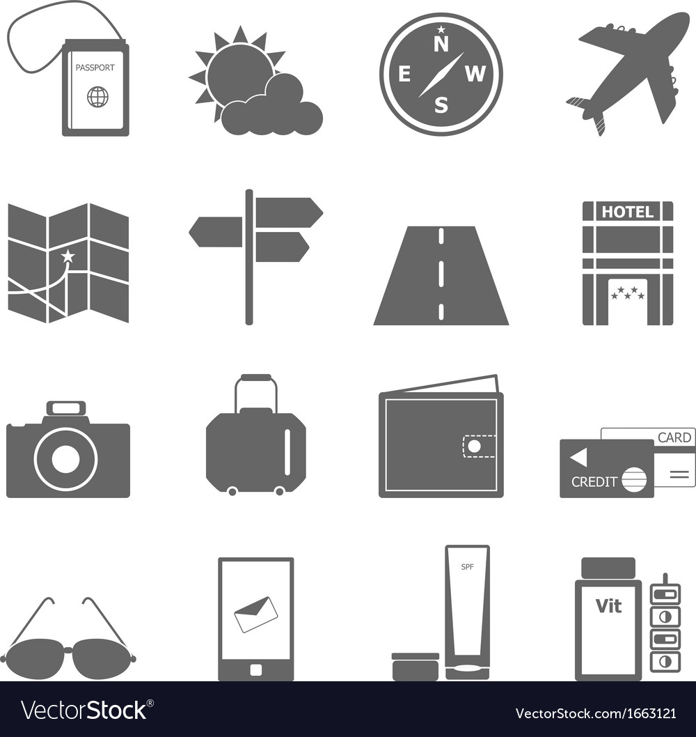 Travel icons on white background vector | Price: 1 Credit (USD $1)