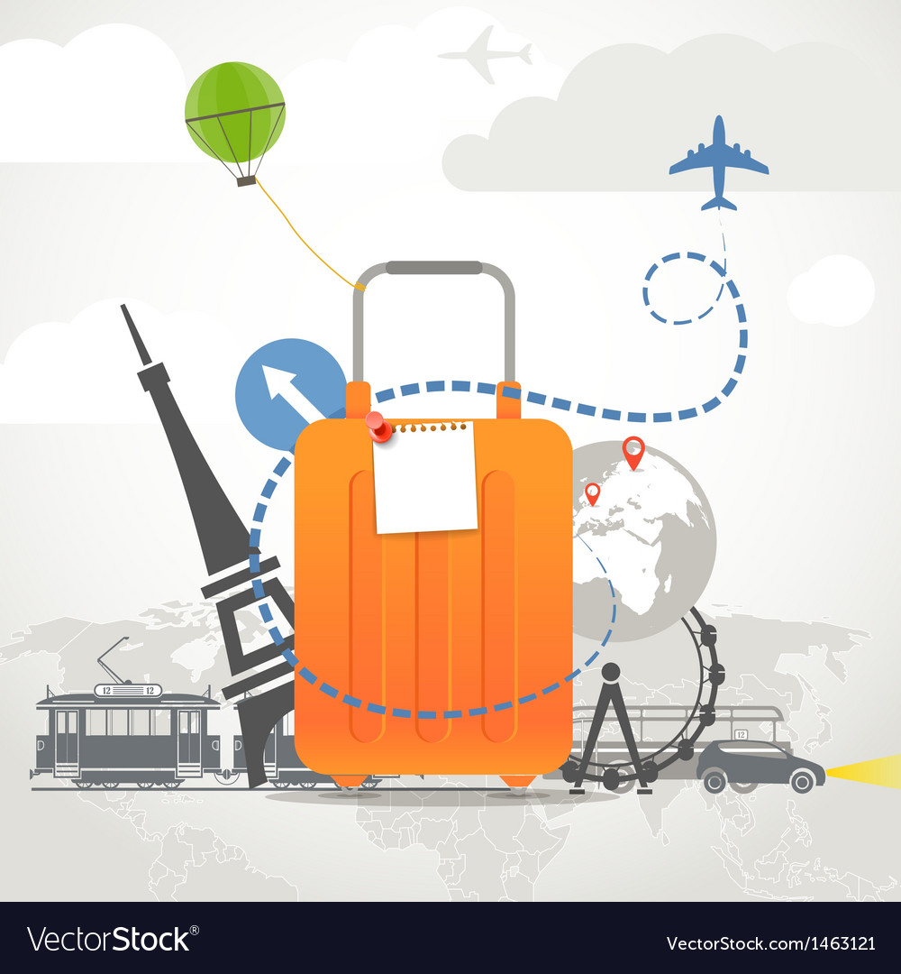 Vacation travelling composition with orange bag vector | Price: 3 Credit (USD $3)