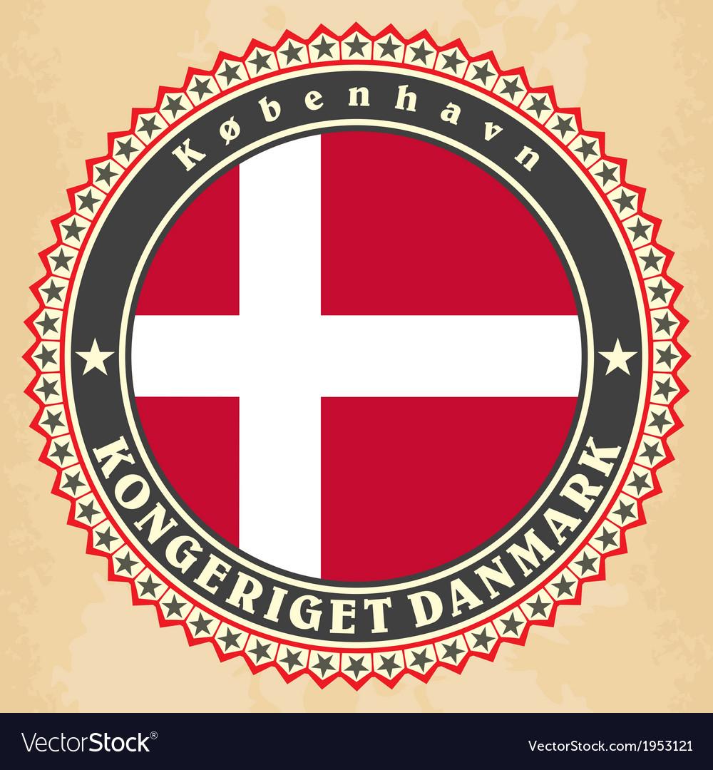 Vintage label cards of denmark flag vector   Price: 1 Credit (USD $1)