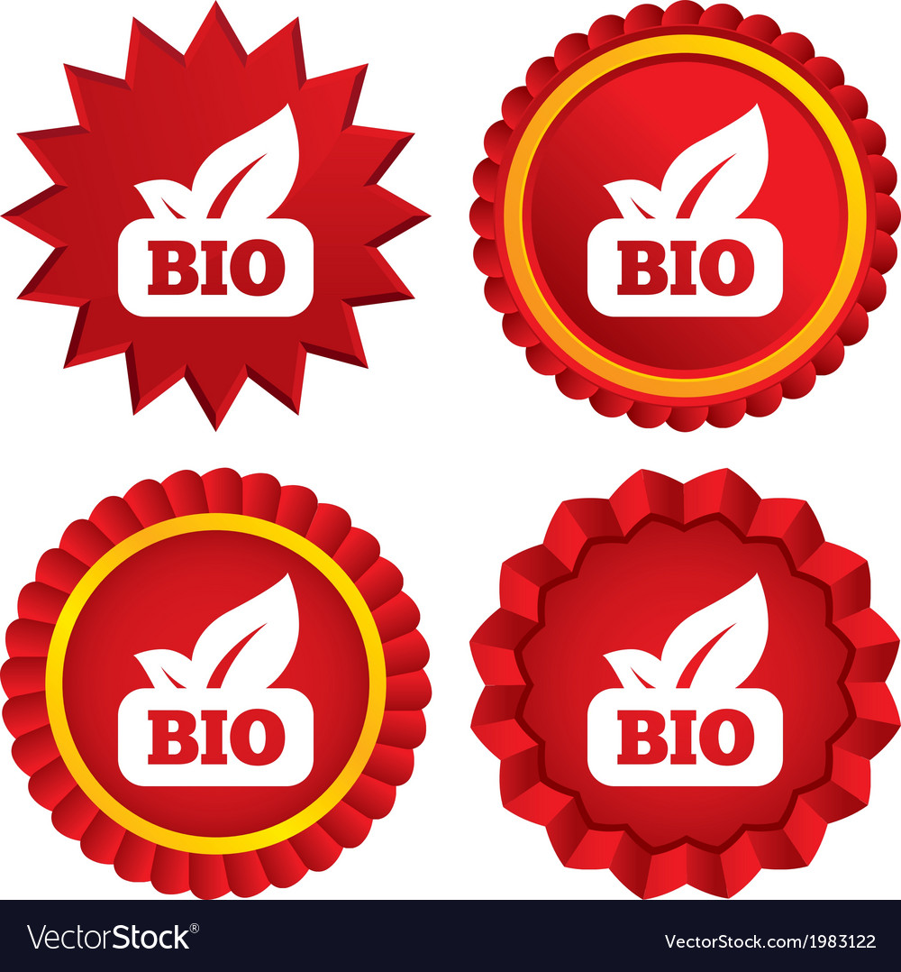 Bio product sign icon leaf symbol vector | Price: 1 Credit (USD $1)