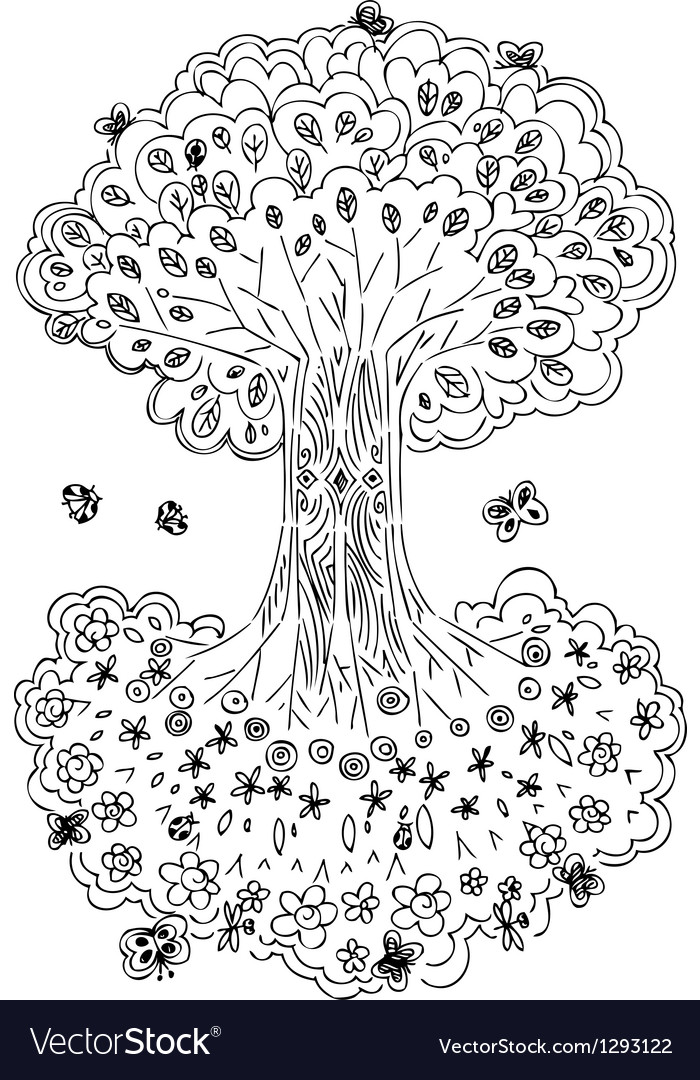 Black and white tree of life vector | Price: 1 Credit (USD $1)