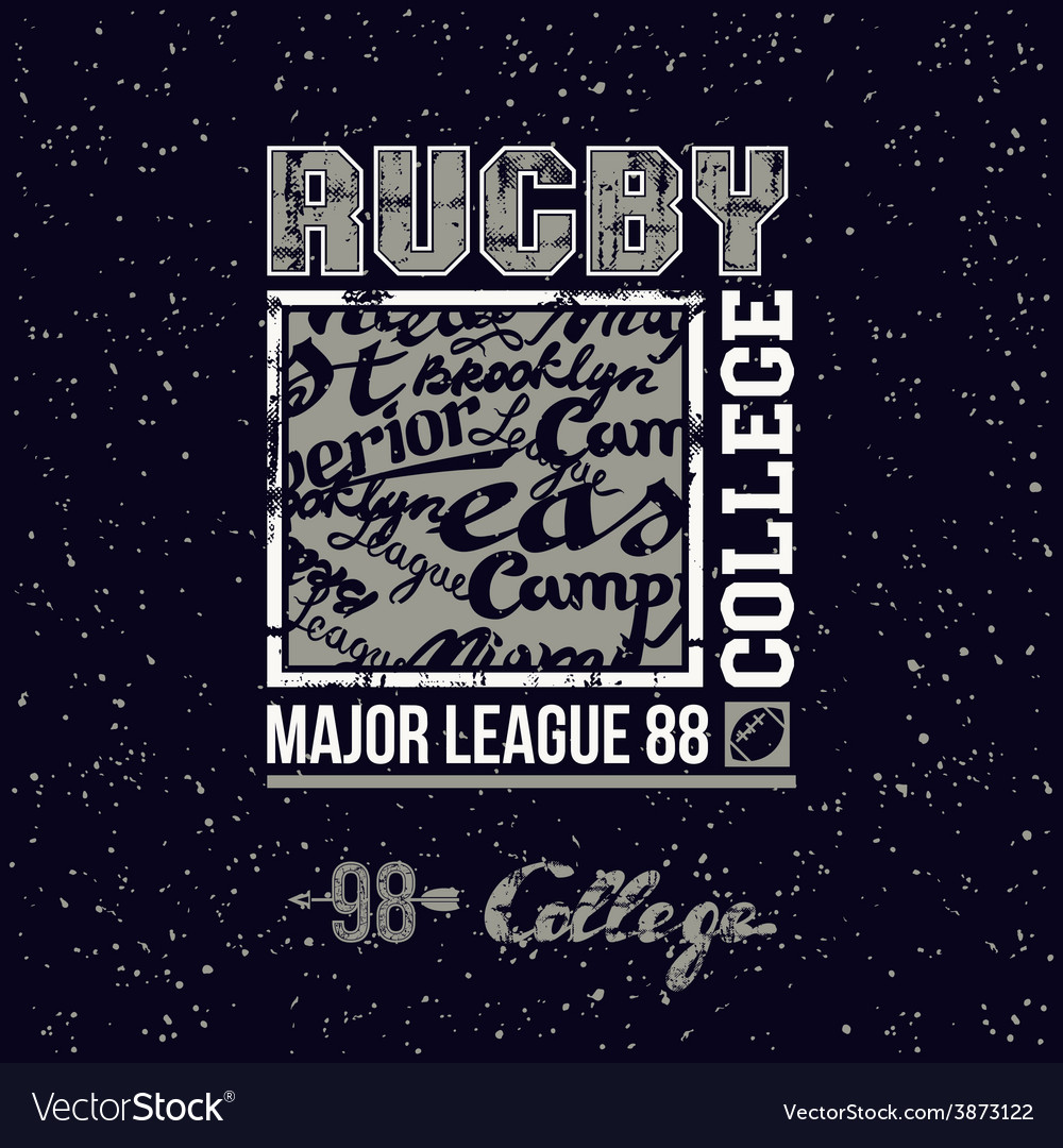College print rugby team vector | Price: 1 Credit (USD $1)