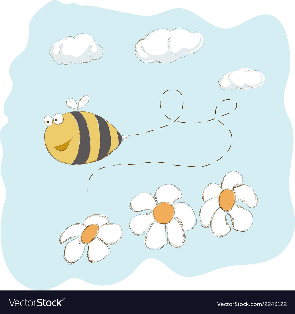 Cute bee flying around flowers vector | Price: 1 Credit (USD $1)