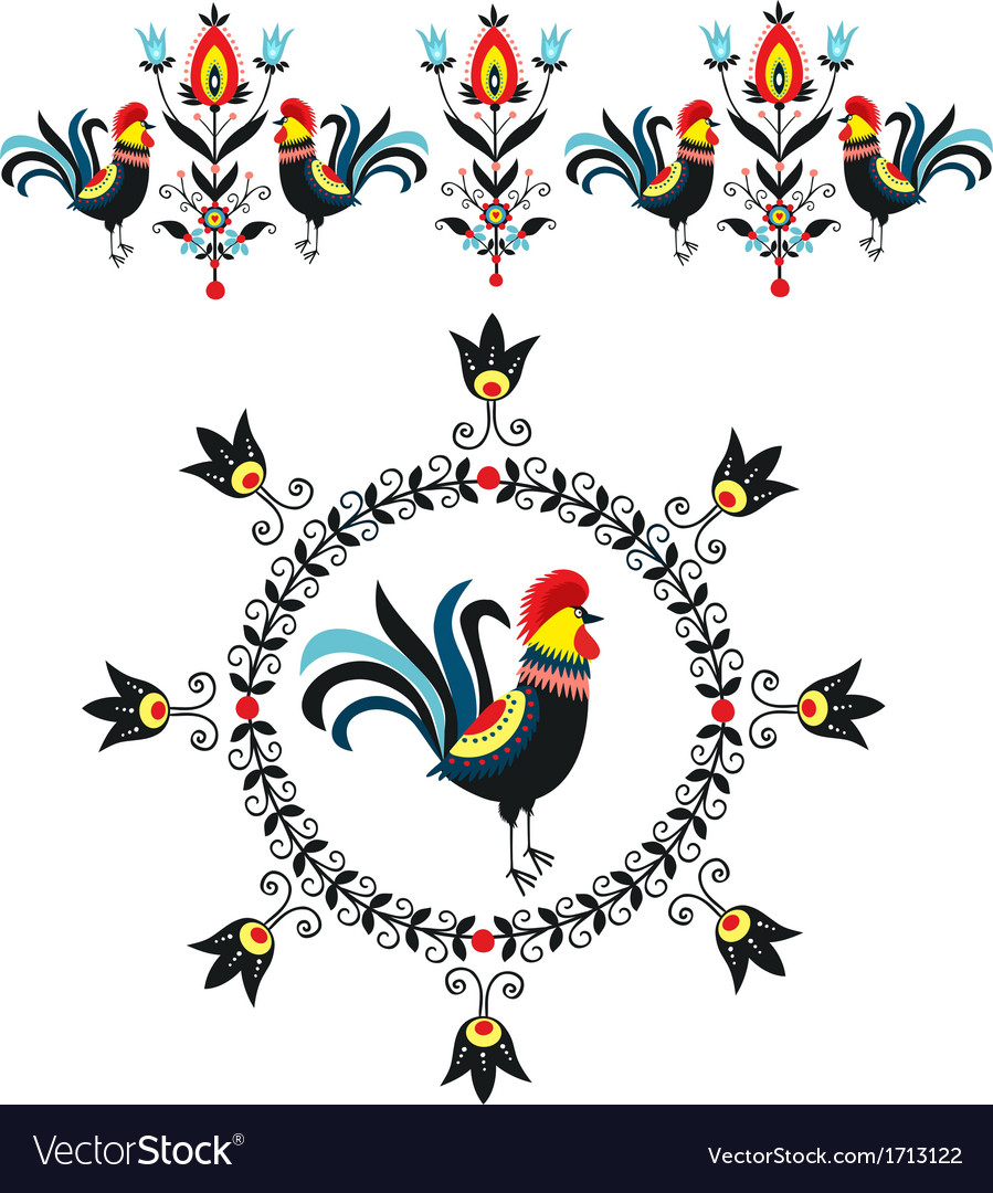 Folk decorations of roosters vector | Price: 1 Credit (USD $1)