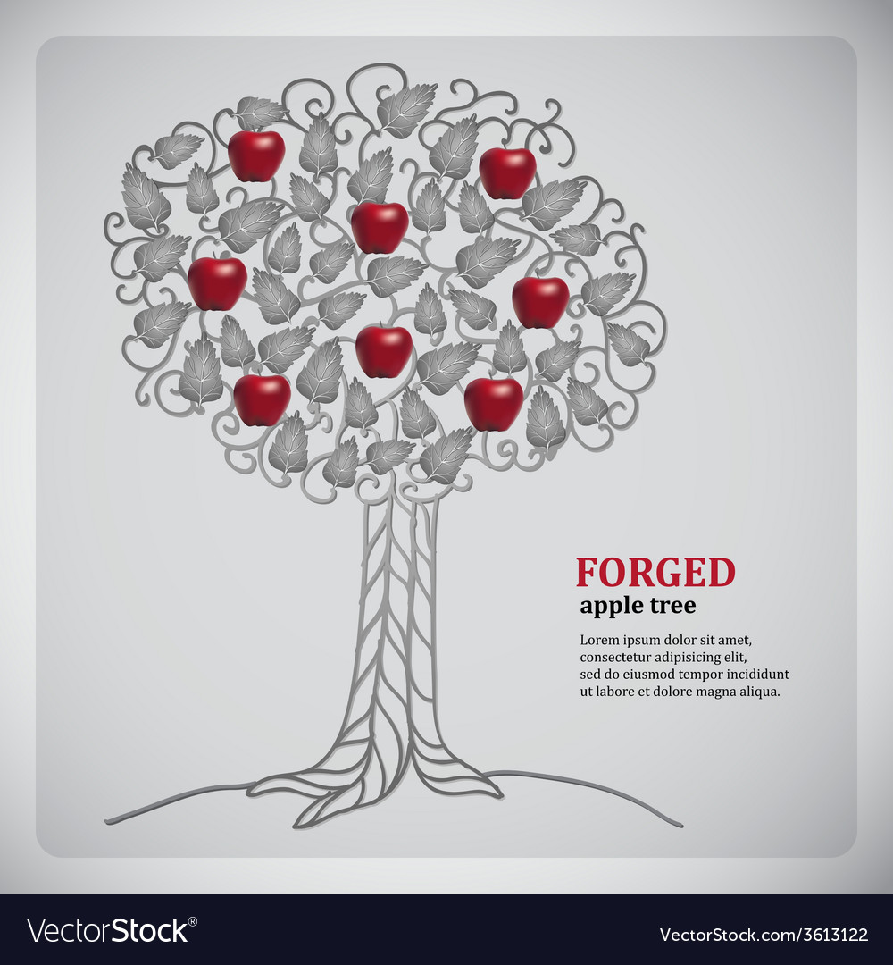 Forged metall tree with red apples vector | Price: 1 Credit (USD $1)
