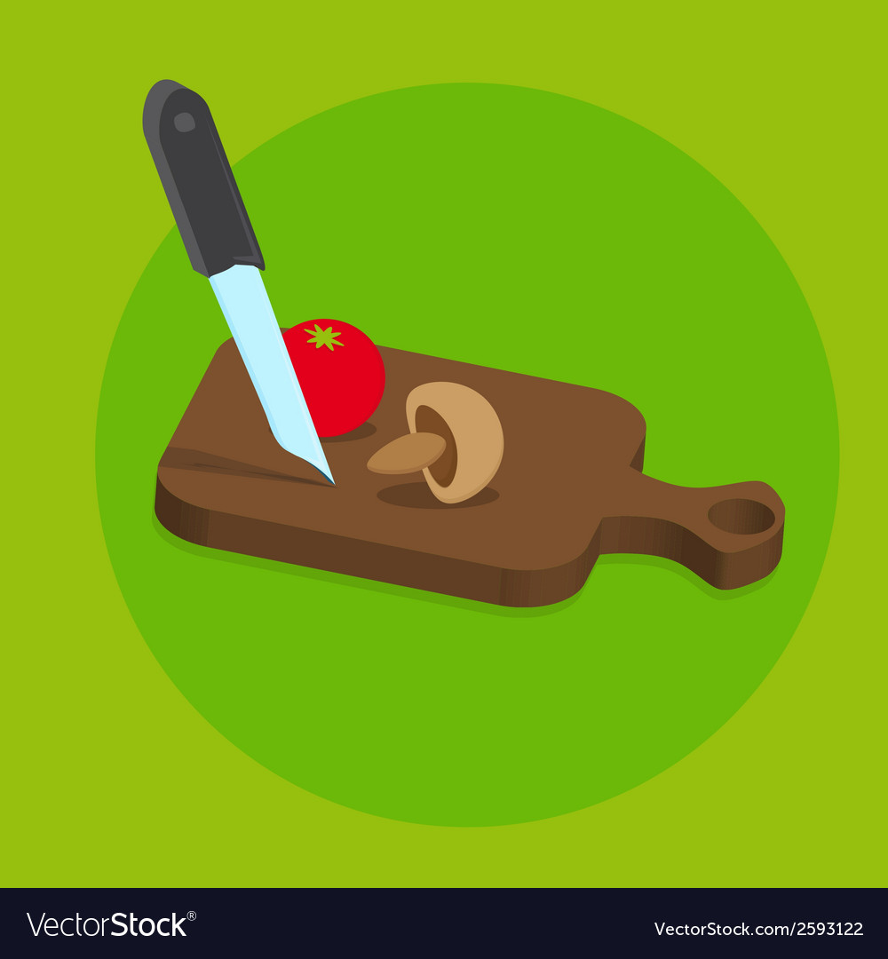 Fresh food menu with tomato and knife with green vector | Price: 1 Credit (USD $1)
