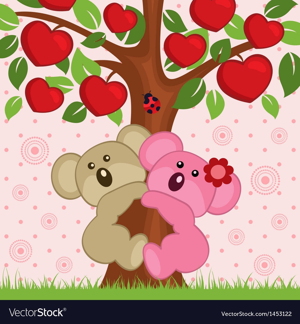 Koala in tree vector | Price: 3 Credit (USD $3)