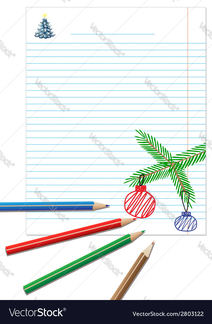 Paper note with colored pencils vector | Price: 1 Credit (USD $1)