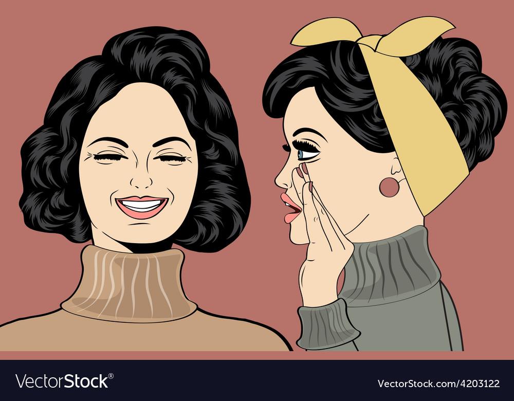 Pop art retro women in comics style that gossip vector   Price: 1 Credit (USD $1)