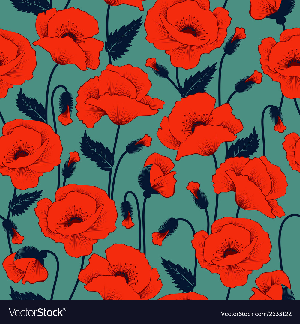 Poppy seamless pattern vector | Price: 1 Credit (USD $1)