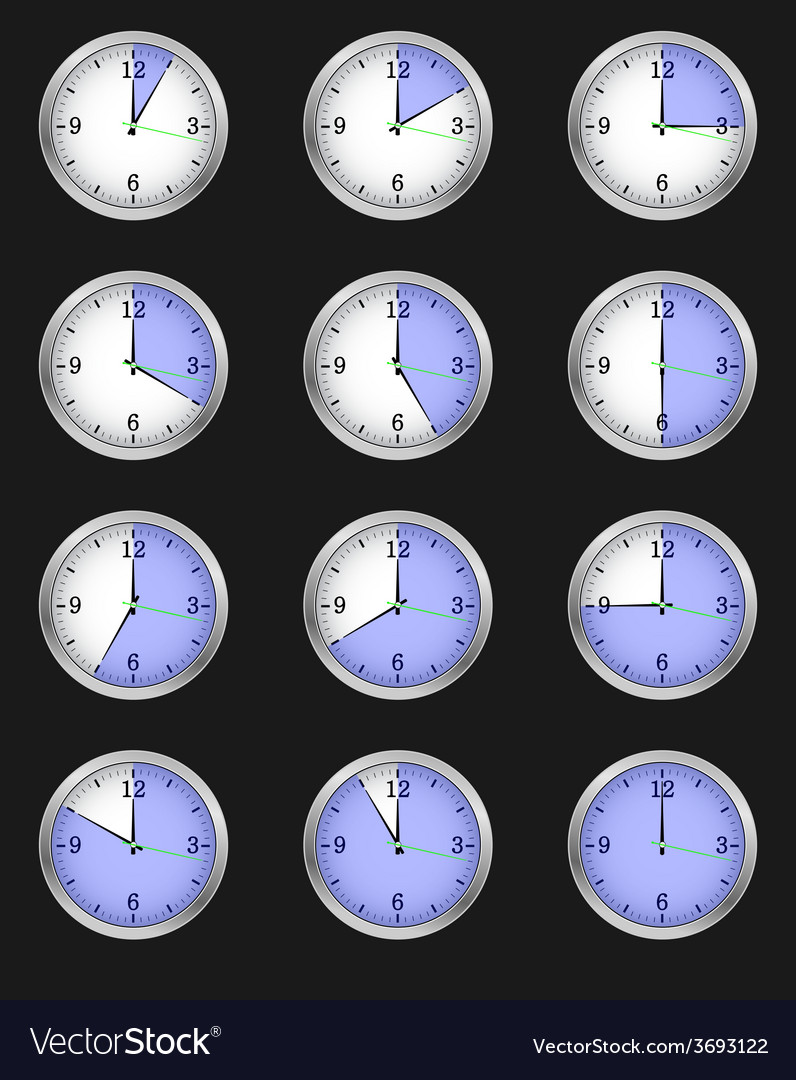 Set of twelve alarms indicating different times vector | Price: 1 Credit (USD $1)