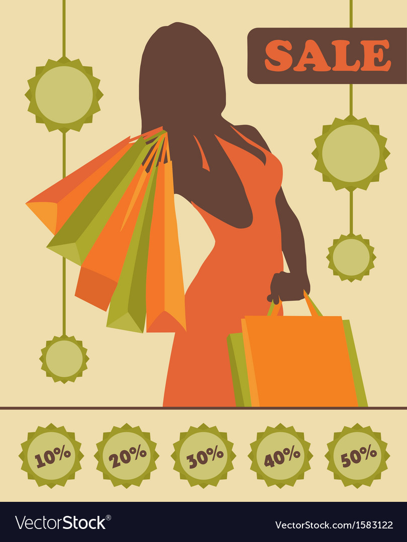 Shopping woman silhouette with sale stickers vector | Price: 1 Credit (USD $1)