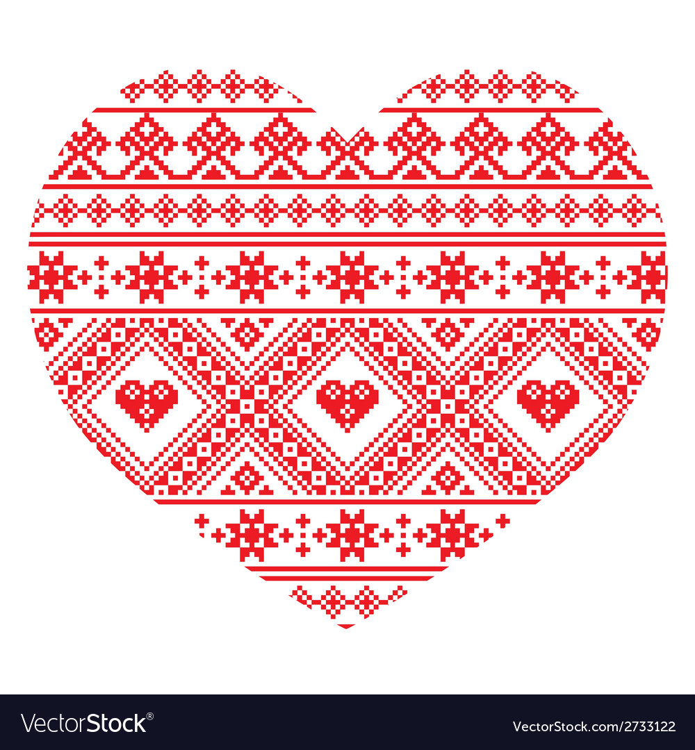 Traditional ukrainian folk art heart pattern vector | Price: 1 Credit (USD $1)