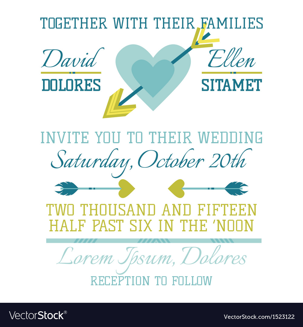 Wedding vintage invitation - heart and arrows vector | Price: 1 Credit (USD $1)