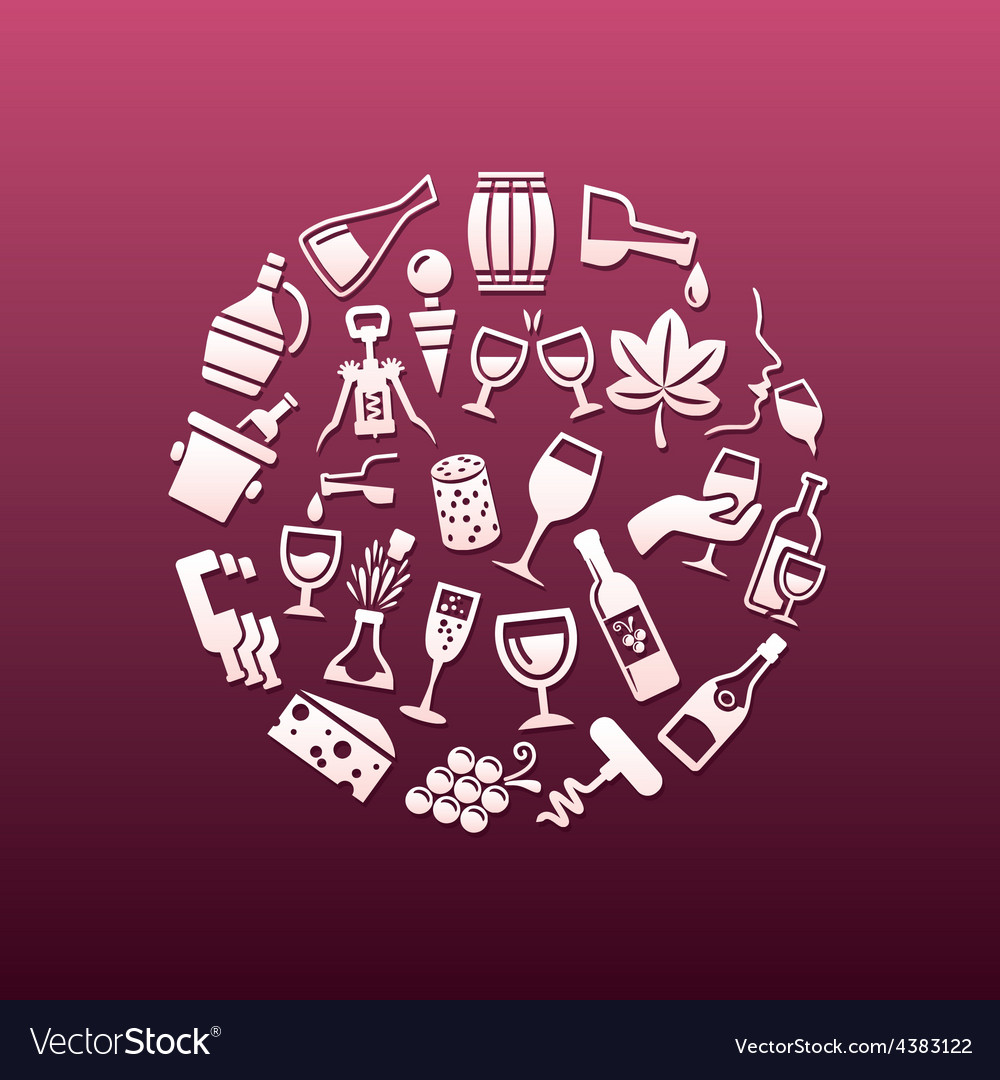 Wine icons in circle vector | Price: 1 Credit (USD $1)