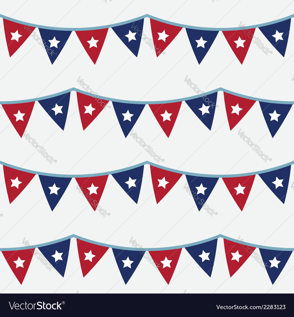 4th of july seamless bunting pattern vector | Price: 1 Credit (USD $1)