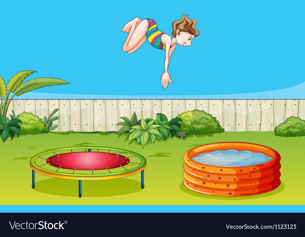 A girl playing trampoline vector | Price: 1 Credit (USD $1)