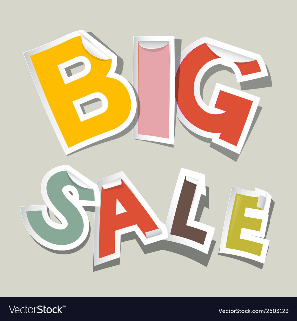 Big sale paper stickers vector | Price: 1 Credit (USD $1)