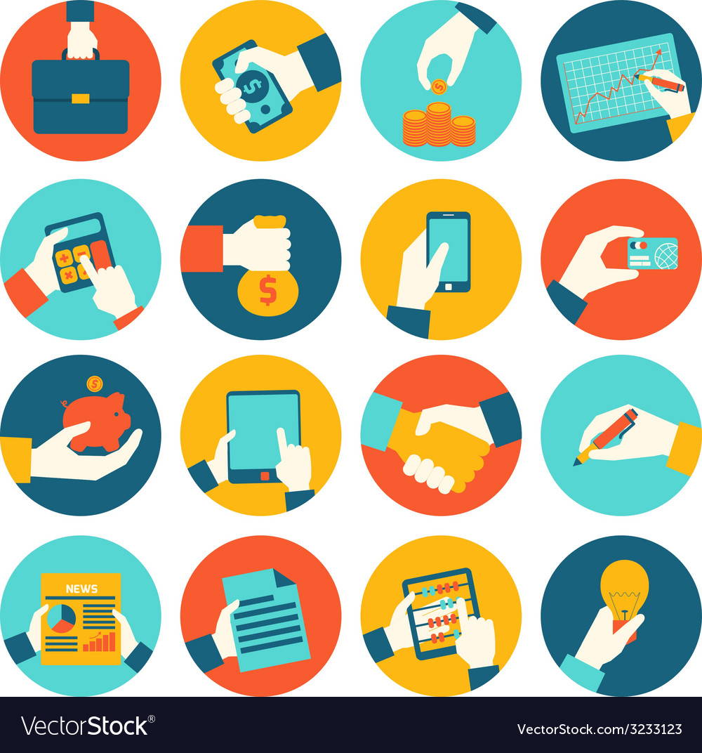 Business hands financial icons vector   Price: 1 Credit (USD $1)