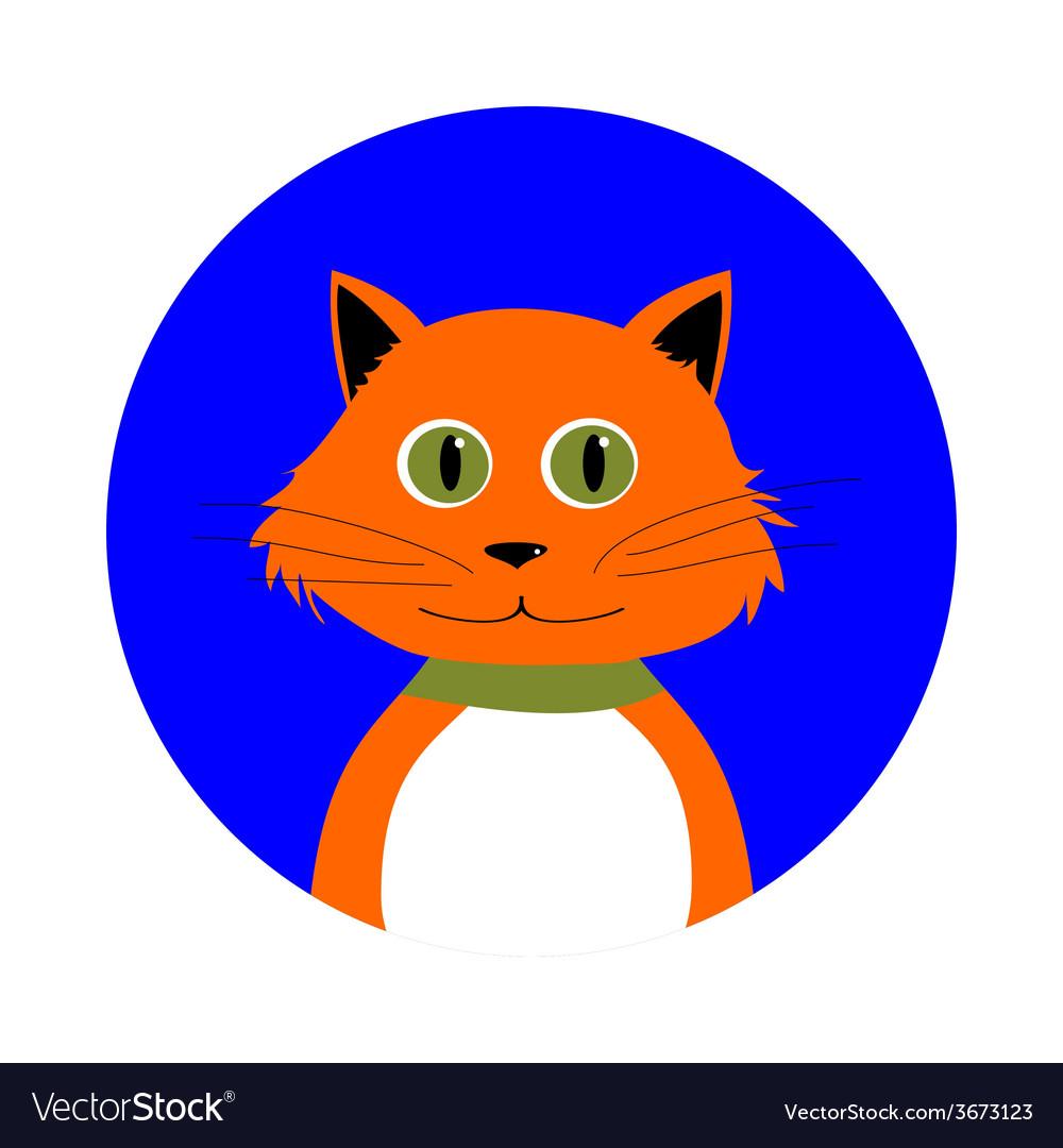 Cartoon red cat in circle vector   Price: 1 Credit (USD $1)