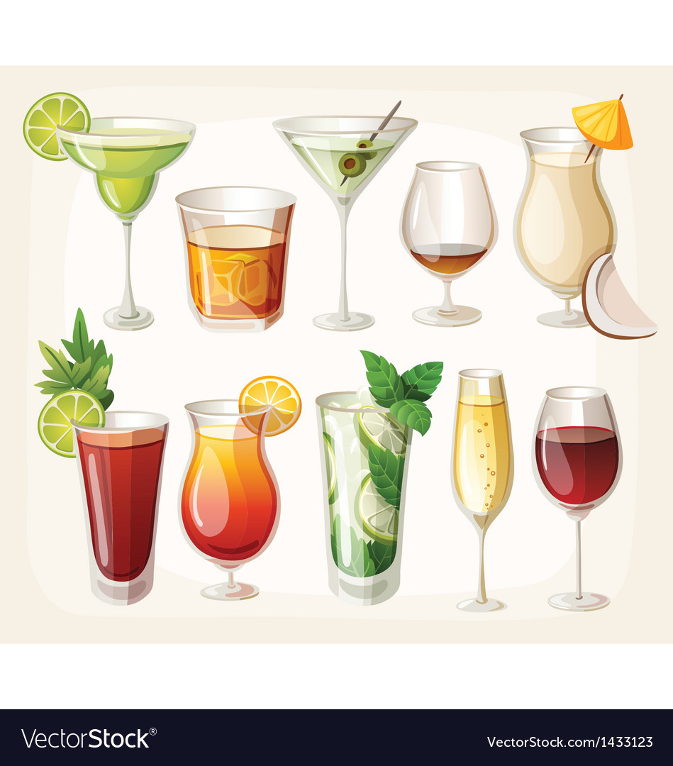 Collection of alcohol drinks and coctails vector | Price: 3 Credit (USD $3)