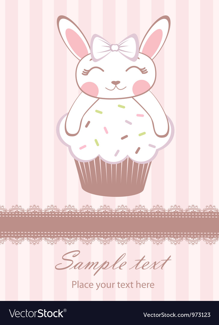 Cute bunny on cupcake card vector | Price: 3 Credit (USD $3)