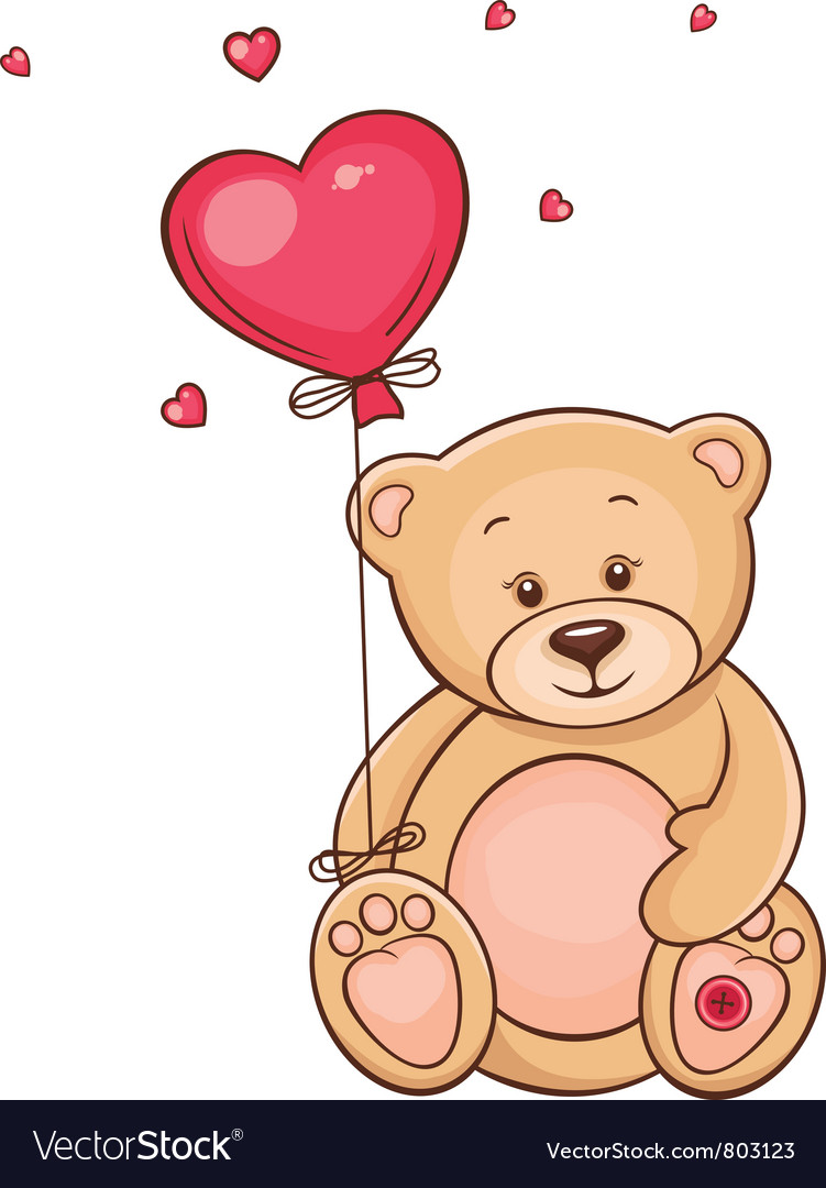 Cute teddy bear with red balloon vector | Price: 3 Credit (USD $3)