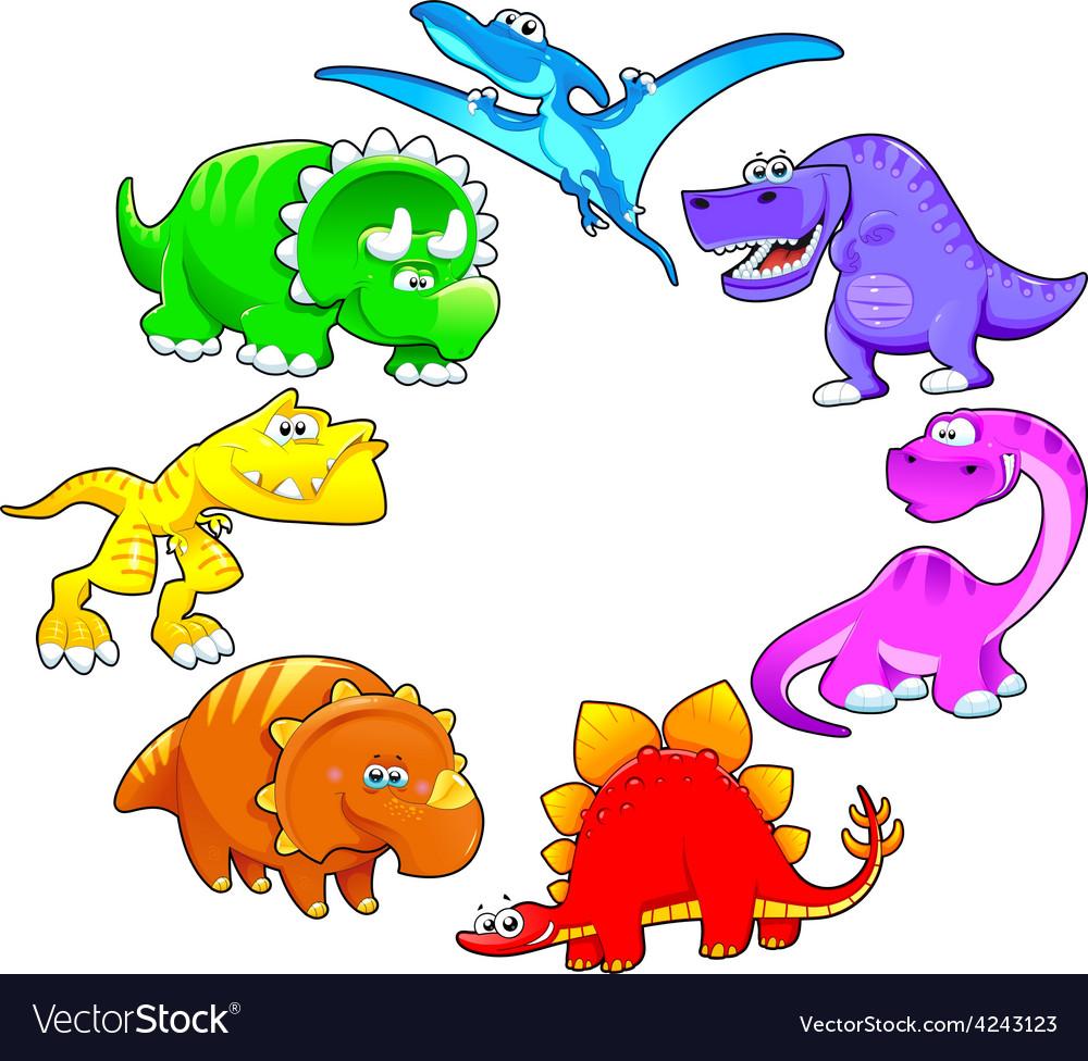 Dinosaurs rainbow vector | Price: 1 Credit (USD $1)