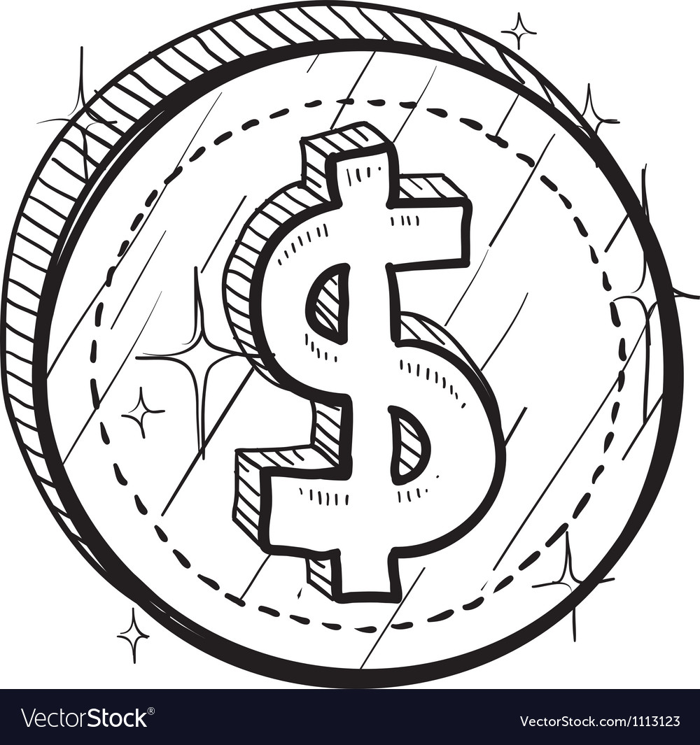Doodle currency coin dollar vector | Price: 1 Credit (USD $1)